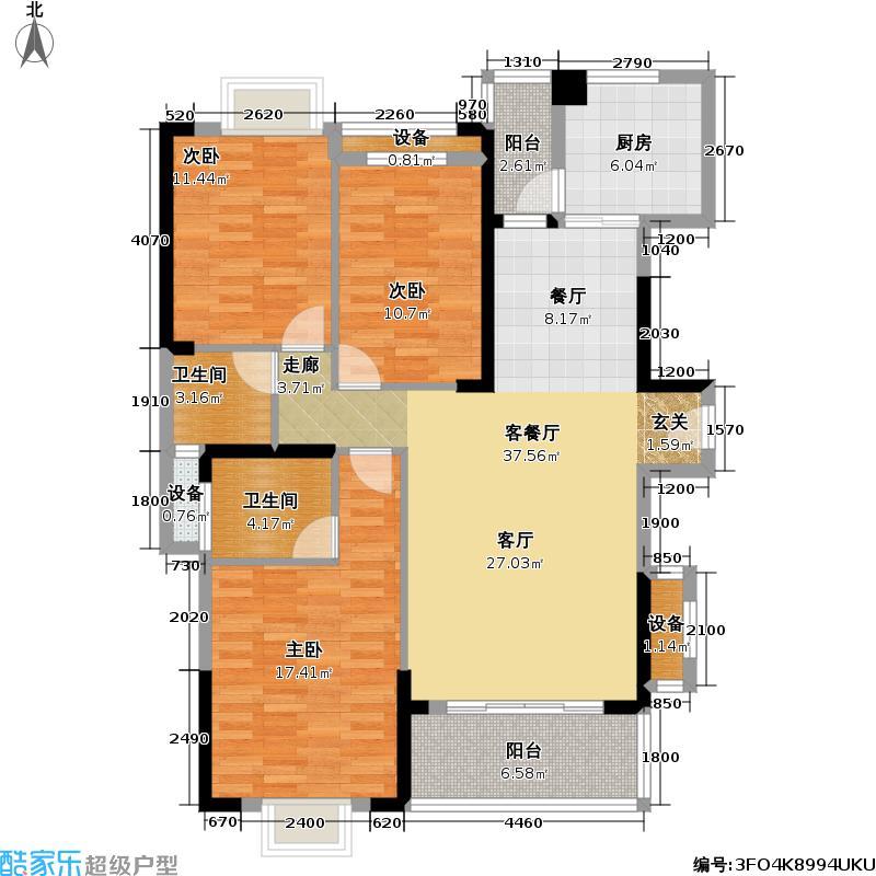 祥和家园128.74㎡B户型 3室2厅2卫1厨户型