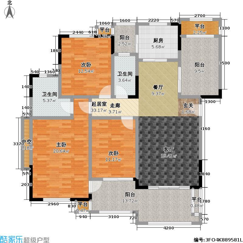 富力盈溪谷120.00㎡B型三房二厅二卫 花园洋房户型3室2厅2卫