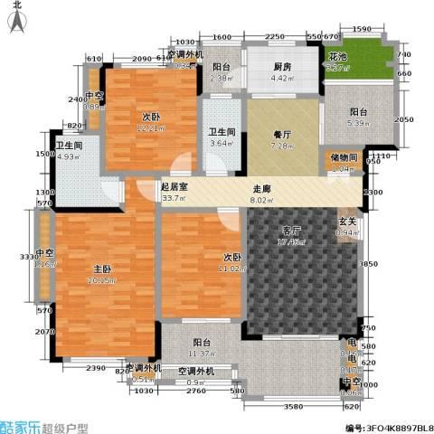 富力盈溪谷3室0厅2卫1厨130.00㎡户型图
