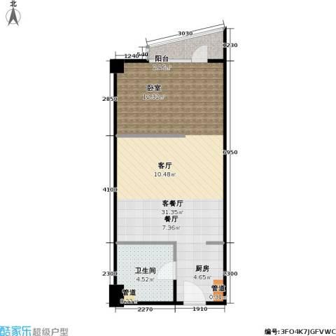 新世纪广场1厅1卫0厨52.00㎡户型图
