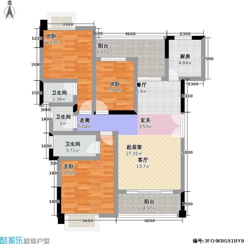 永高星海名城109.29㎡8、9号楼B3户型3室2厅3卫
