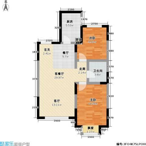 渤海玉园2室1厅1卫1厨93.00㎡户型图