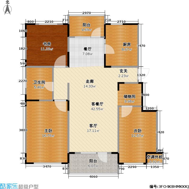 万科魅力之城二期117.00㎡3室2厅2卫1厨户型3室2厅2卫