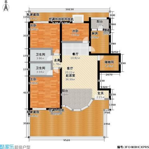 万科青青家园3室0厅2卫1厨157.00㎡户型图