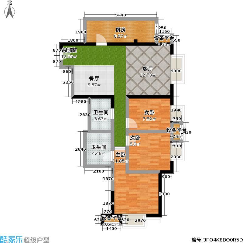 万年花城・濠景四期12号楼B三室二厅二卫户型