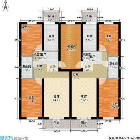 联通名苑4室0厅2卫2厨182.00㎡户型图
