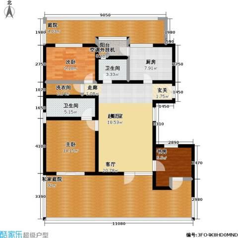 万科青青家园3室0厅2卫1厨130.00㎡户型图