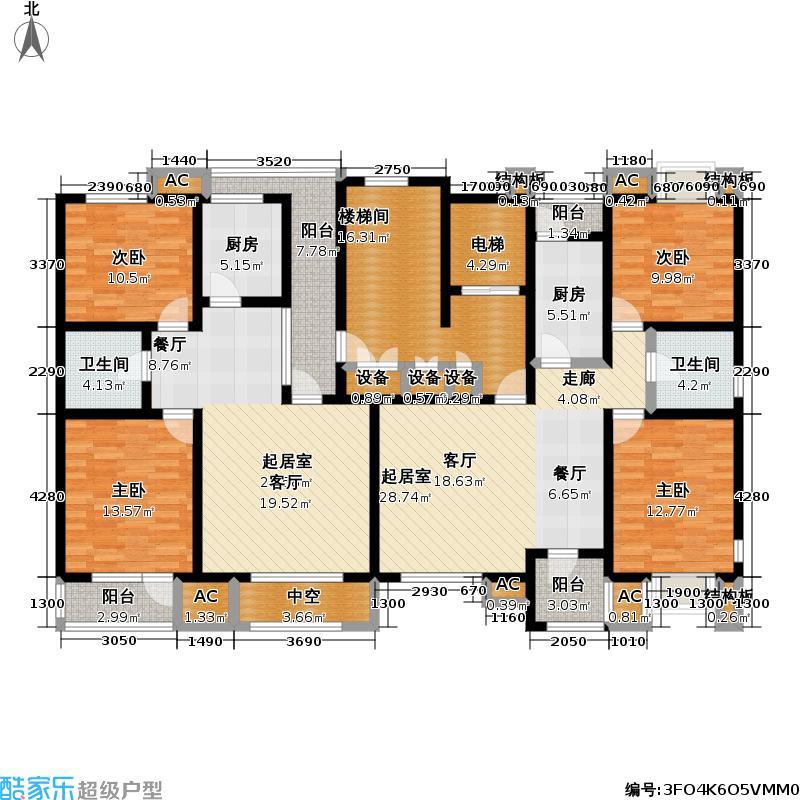 福渔园枫尚河院86.49㎡四层户型2室2厅1卫
