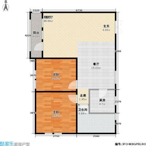 花园小区2室1厅1卫1厨107.00㎡户型图