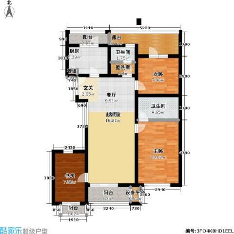 万科青青家园3室0厅2卫1厨122.00㎡户型图