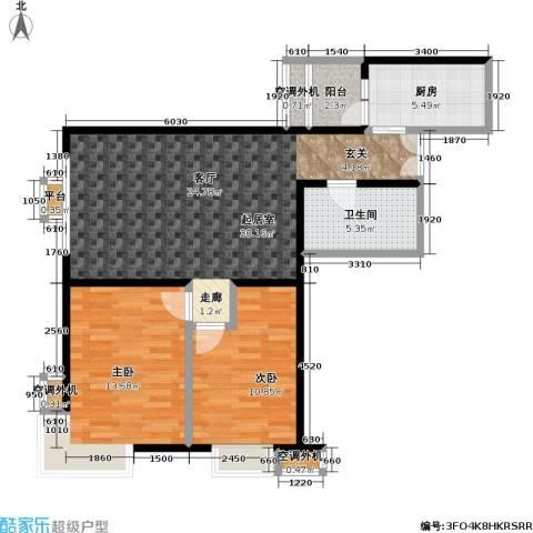 米罗公元・方丹苑Ⅱ2室0厅1卫1厨92.00㎡户型图
