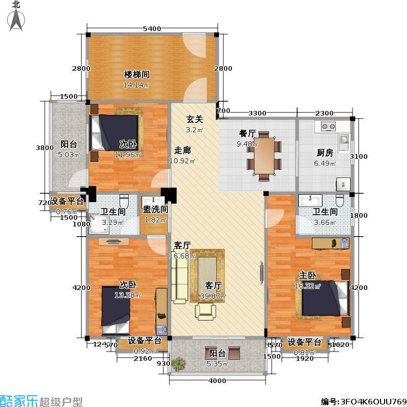 都市华庭户型3室1厅2卫1厨
