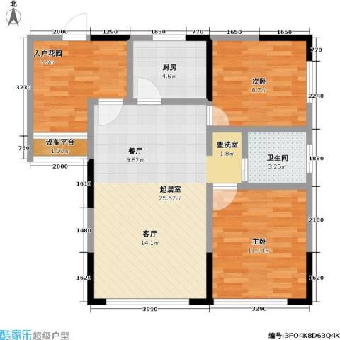 富临桃花岛2室0厅1卫1厨88.00㎡户型图