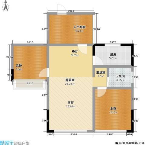富临桃花岛2室0厅1卫1厨90.00㎡户型图