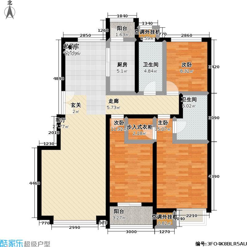葛洲坝・紫郡府135.00㎡甲户型图3室2厅2卫1厨户型3室2厅2卫