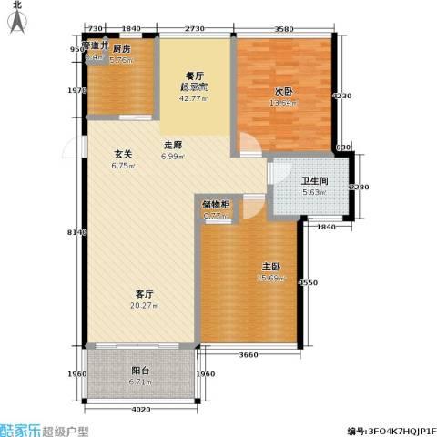 新港清华苑2室0厅1卫1厨128.00㎡户型图