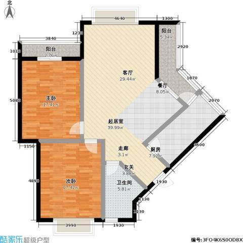 普瑞华庭2室0厅1卫1厨110.00㎡户型图