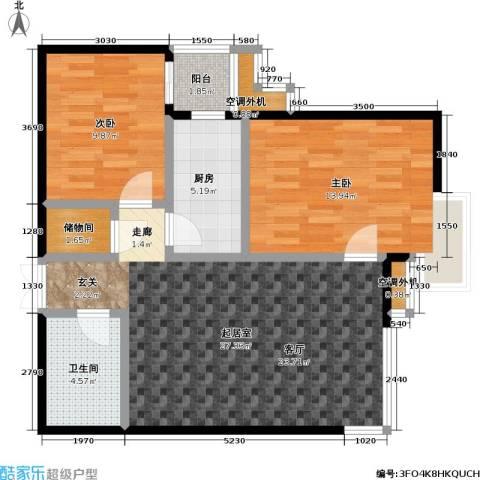 米罗公元・方丹苑Ⅱ2室0厅1卫1厨88.00㎡户型图