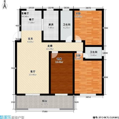 蓝钻庄园3室1厅2卫1厨140.00㎡户型图