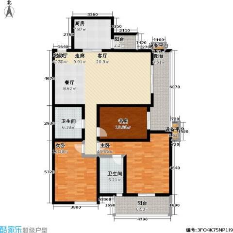 高新名门3室1厅2卫1厨147.00㎡户型图