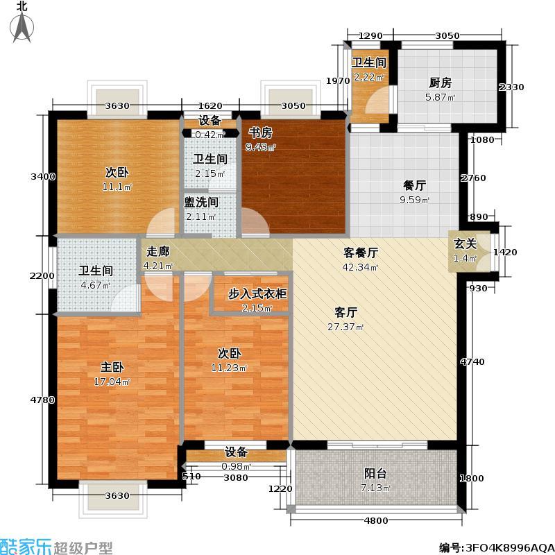 祥和家园155.00㎡D户型四房二厅户型