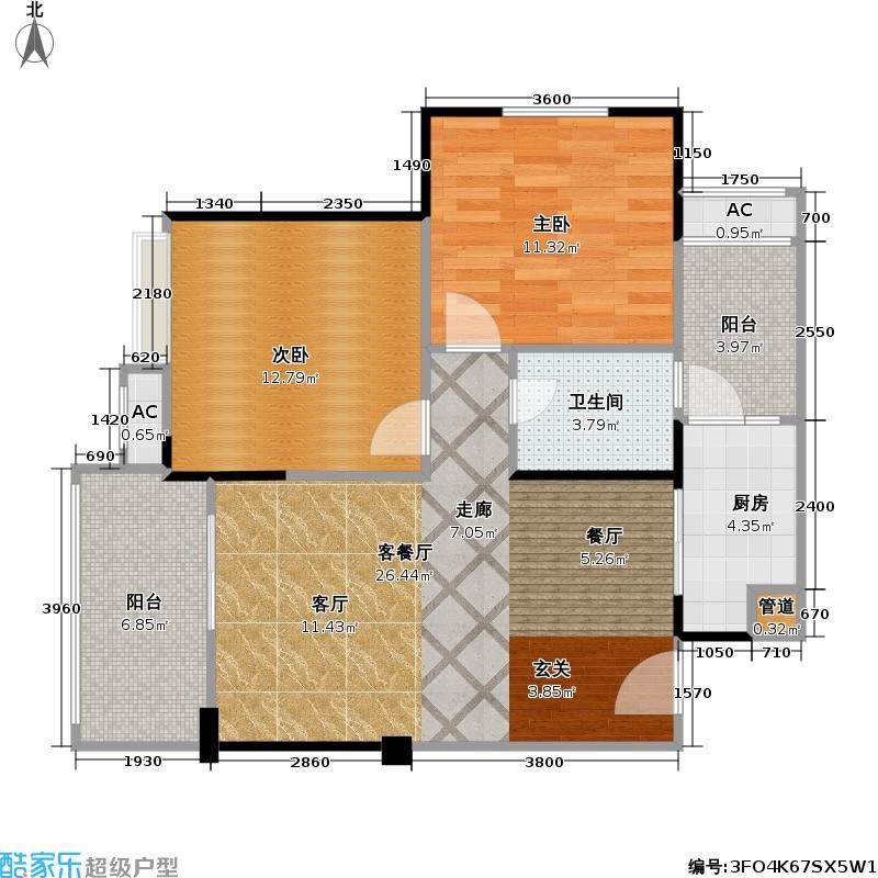 保利中央峰景77.61㎡高层 F3户型 26号楼1-24层 1室2厅1卫(实得89平米)户型1室2厅1卫