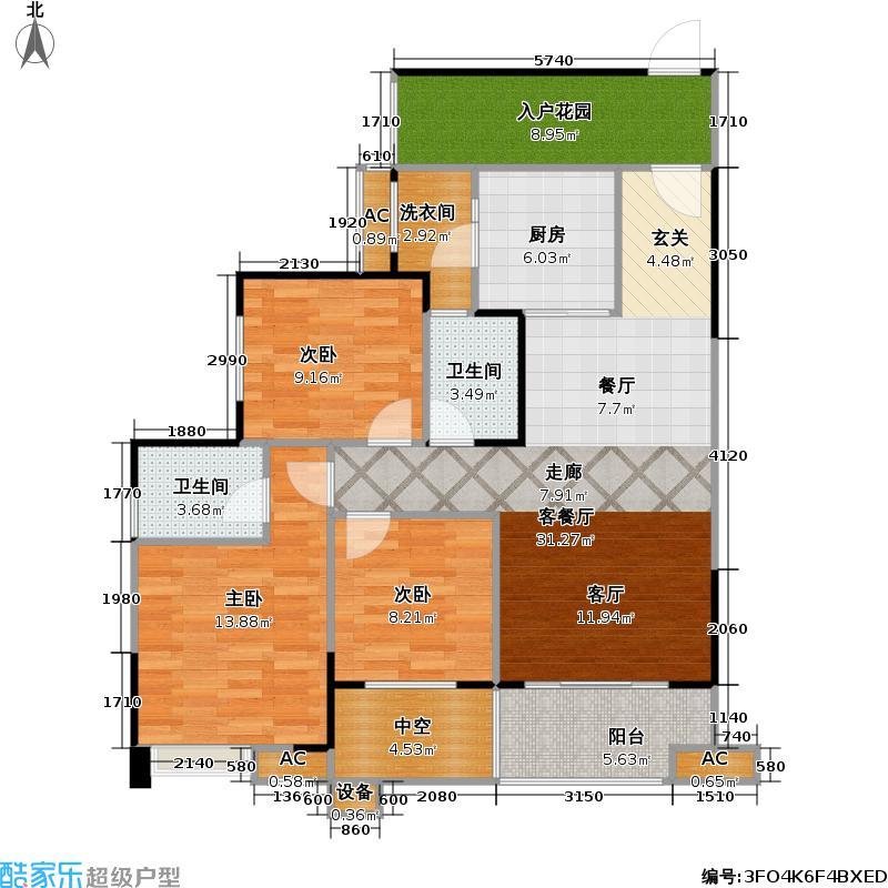 保利中央峰景95.52㎡高层 G3户型 27号楼4-20偶数层 1室2厅2卫(实得119平米)户型1室2厅2卫