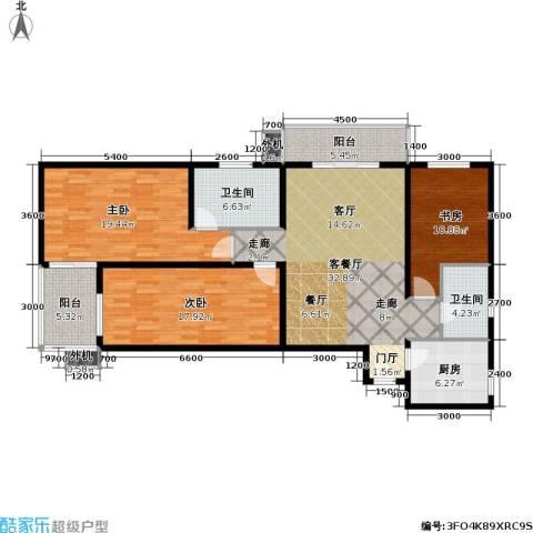 上东三角洲3室1厅2卫1厨141.00㎡户型图