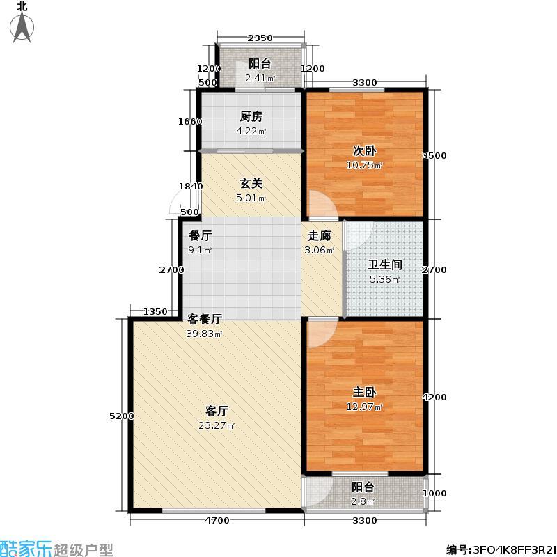共荣时代新城二期户型2室1厅1卫1厨