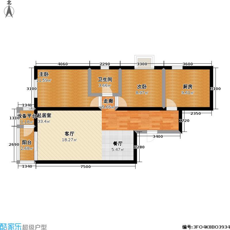 万年花城・濠景四期8号楼D3单元二室二厅一卫户型