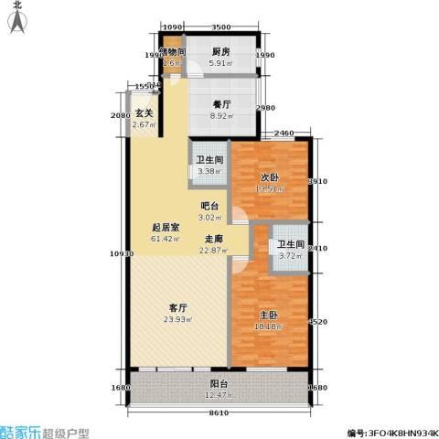 绿荫芳林2室0厅2卫1厨134.00㎡户型图