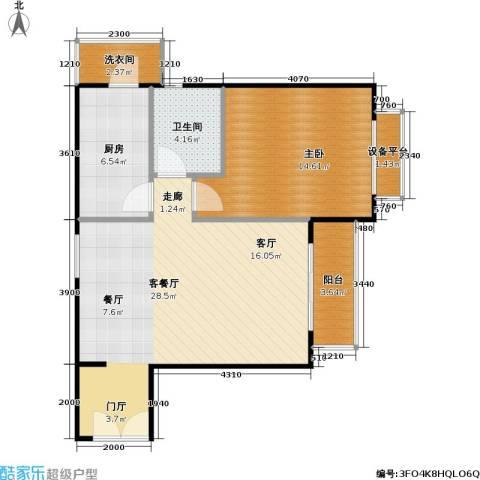时代龙和大道1室1厅1卫1厨77.00㎡户型图