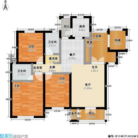 世纪梧桐公寓3室0厅2卫1厨113.00㎡户型图