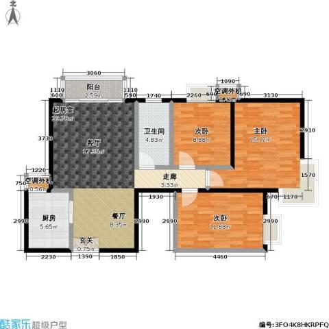 米罗公元・方丹苑Ⅱ3室0厅1卫1厨107.00㎡户型图