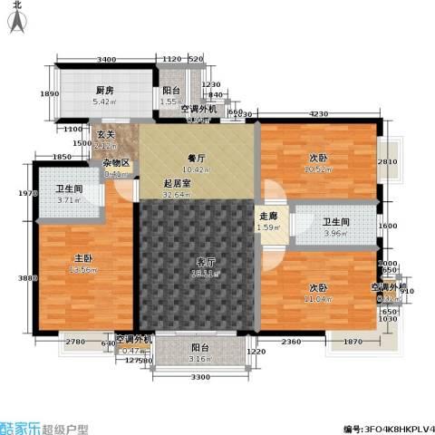 米罗公元・方丹苑Ⅱ3室0厅2卫1厨117.00㎡户型图