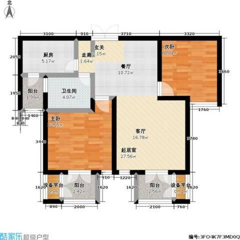 世纪梧桐公寓2室0厅1卫1厨88.00㎡户型图