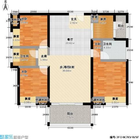 中信凯旋国际3室0厅2卫1厨112.00㎡户型图