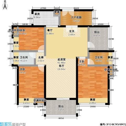 中信凯旋国际3室0厅2卫1厨134.00㎡户型图