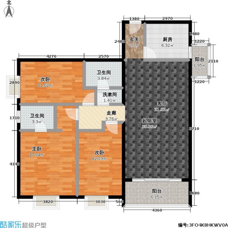 九龙特区(九龙花园)132.00㎡三室一厅两卫户型
