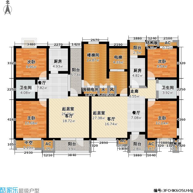 福渔园枫尚河院89.74㎡五层户型2室2厅1卫