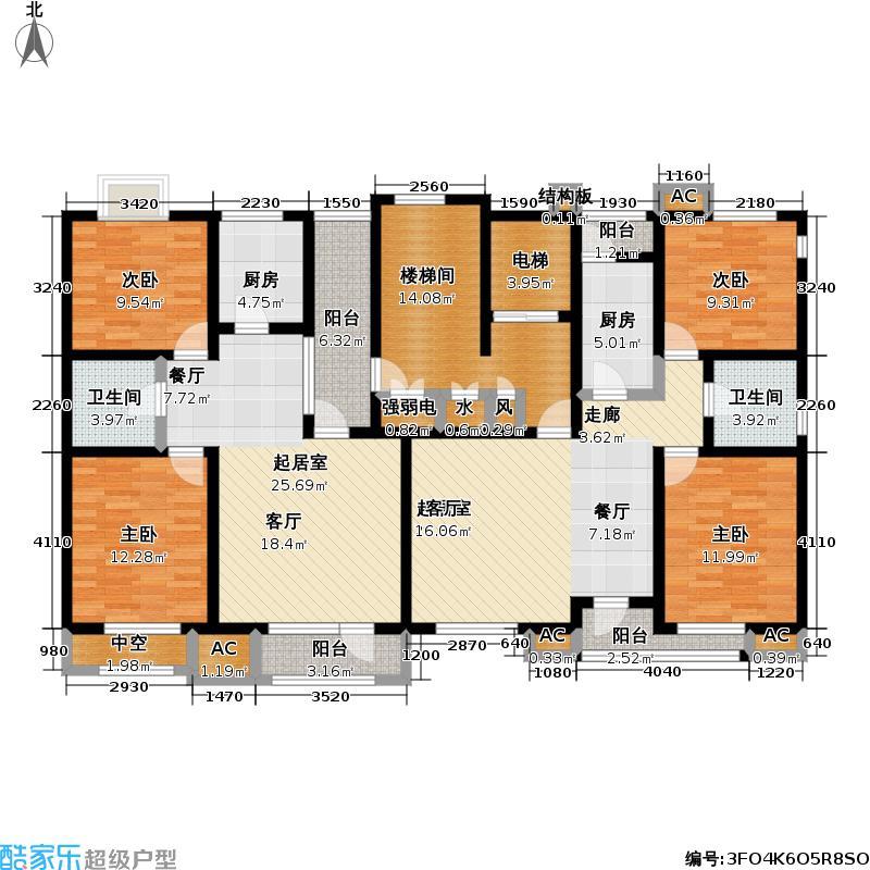 福渔园枫尚河院90.80㎡七层户型2室2厅1卫