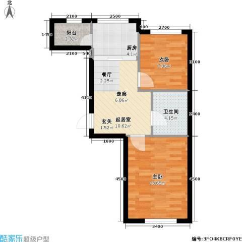 悦城・红光秀苑2室0厅1卫1厨61.00㎡户型图