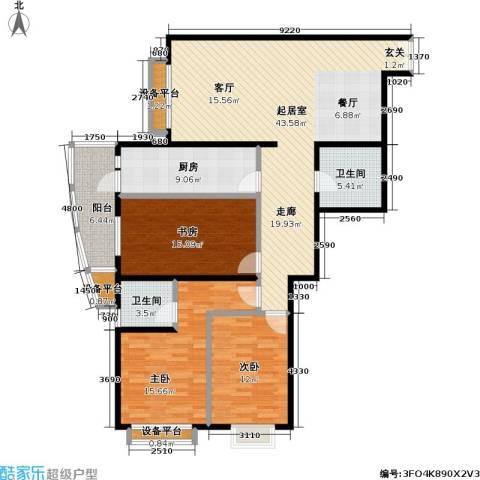 芍药居北里小区3室0厅2卫1厨130.00㎡户型图