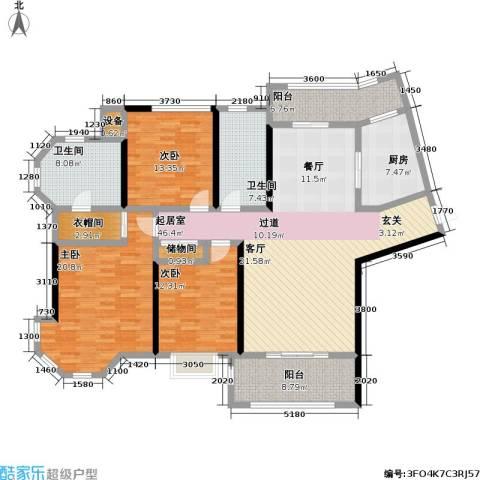上海公馆3室0厅2卫1厨157.00㎡户型图