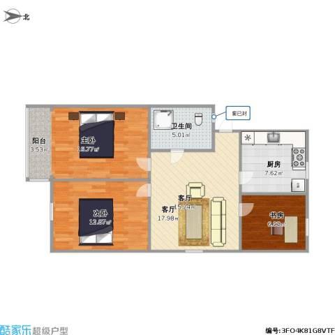中山北园3室1厅1卫1厨90.00㎡户型图
