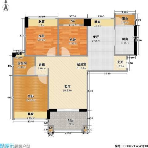 新都广场3室0厅1卫1厨106.00㎡户型图