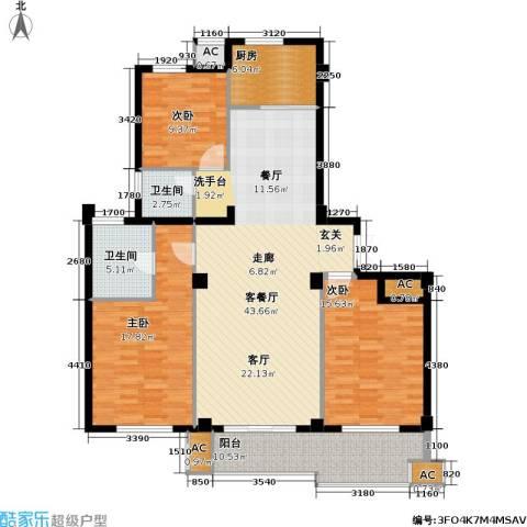 佳源东方不夜城3室1厅2卫1厨128.00㎡户型图