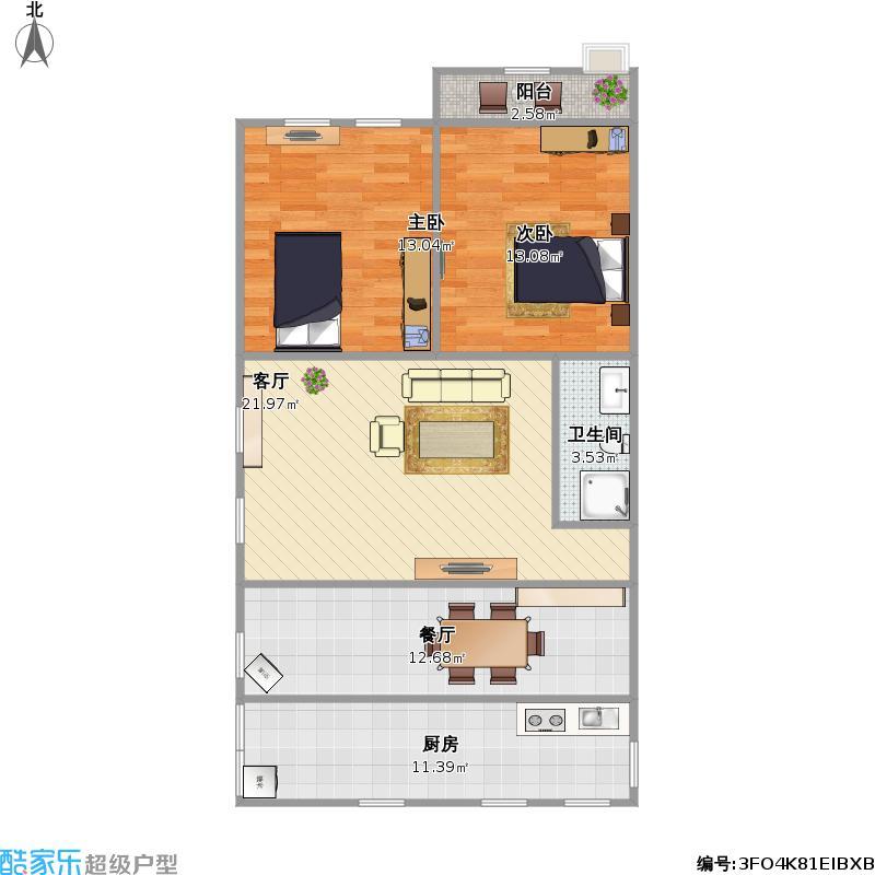 鑫发小区45号楼两室两厅一卫