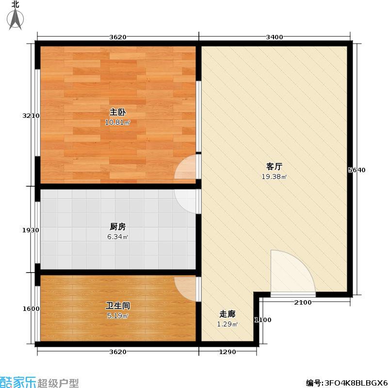 皇家公寓45.54㎡一室一厅一卫一厨户型