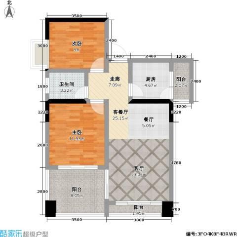 蓝色海岸国际家园2室1厅1卫1厨87.00㎡户型图